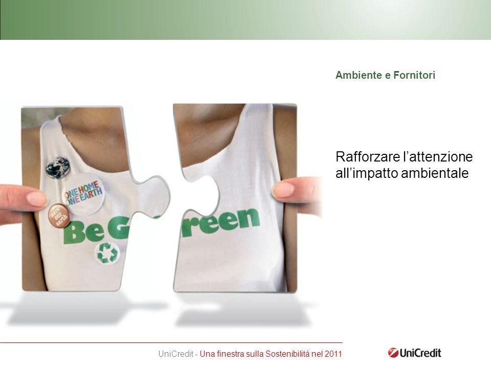 UniCredit - Una finestra sulla Sostenibilità nel 2011 Rafforzare lattenzione allimpatto ambientale Ambiente e Fornitori