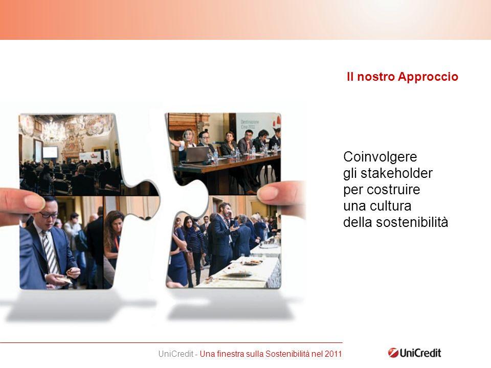 UniCredit - Una finestra sulla Sostenibilità nel 2011 Coinvolgere gli stakeholder per costruire una cultura della sostenibilità Il nostro Approccio