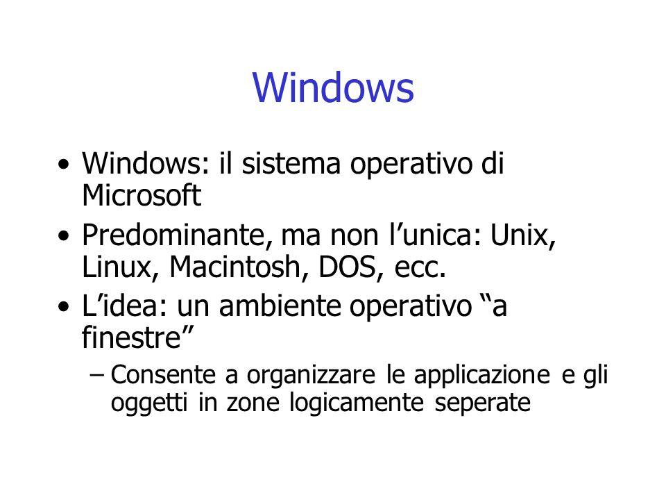 Windows Windows: il sistema operativo di Microsoft Predominante, ma non lunica: Unix, Linux, Macintosh, DOS, ecc.