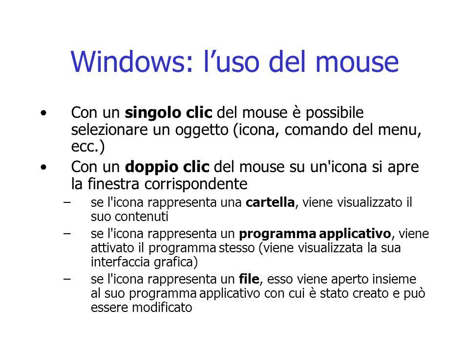 Windows: luso del mouse Con un singolo clic del mouse è possibile selezionare un oggetto (icona, comando del menu, ecc.) Con un doppio clic del mouse su un icona si apre la finestra corrispondente –se l icona rappresenta una cartella, viene visualizzato il suo contenuti –se l icona rappresenta un programma applicativo, viene attivato il programma stesso (viene visualizzata la sua interfaccia grafica) –se l icona rappresenta un file, esso viene aperto insieme al suo programma applicativo con cui è stato creato e può essere modificato