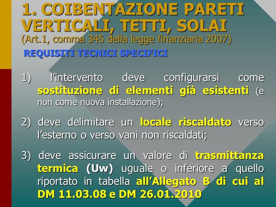 12 1. COIBENTAZIONE PARETI VERTICALI, TETTI, SOLAI (Art.1, comma 345 della legge finanziaria 2007) 1) lintervento deve configurarsi come sostituzione