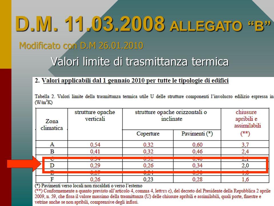13 Valori limite di trasmittanza termica D.M. 11.03.2008 ALLEGATO B Modificato con D.M 26.01.2010