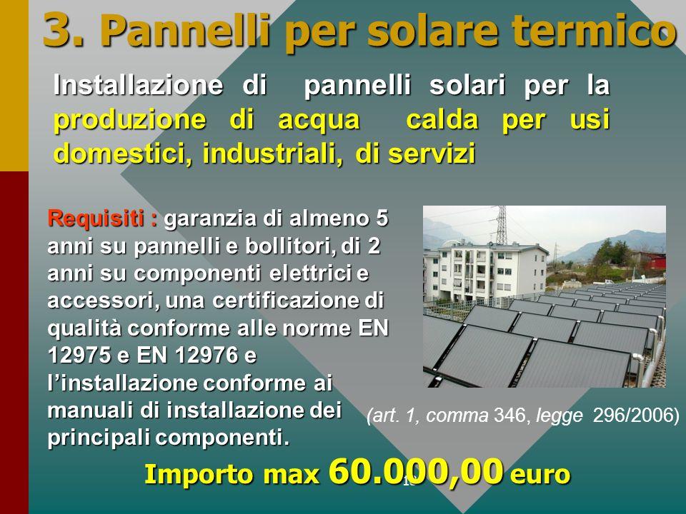 18 3. Pannelli per solare termico Installazione di pannelli solari per la produzione di acqua calda per usi domestici, industriali, di servizi Importo