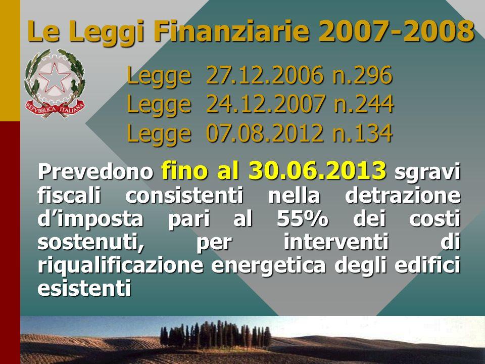 7 Le Leggi Finanziarie 2007-2008 Prevedono fino al 30.06.2013 sgravi fiscali consistenti nella detrazione dimposta pari al 55% dei costi sostenuti, pe