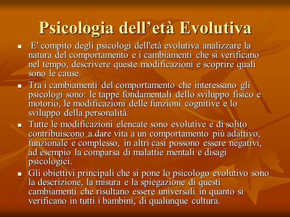 Psicologia delletà Evolutiva E' compito degli psicologi dell'età evolutiva analizzare la natura del comportamento e i cambiamenti che si verificano ne