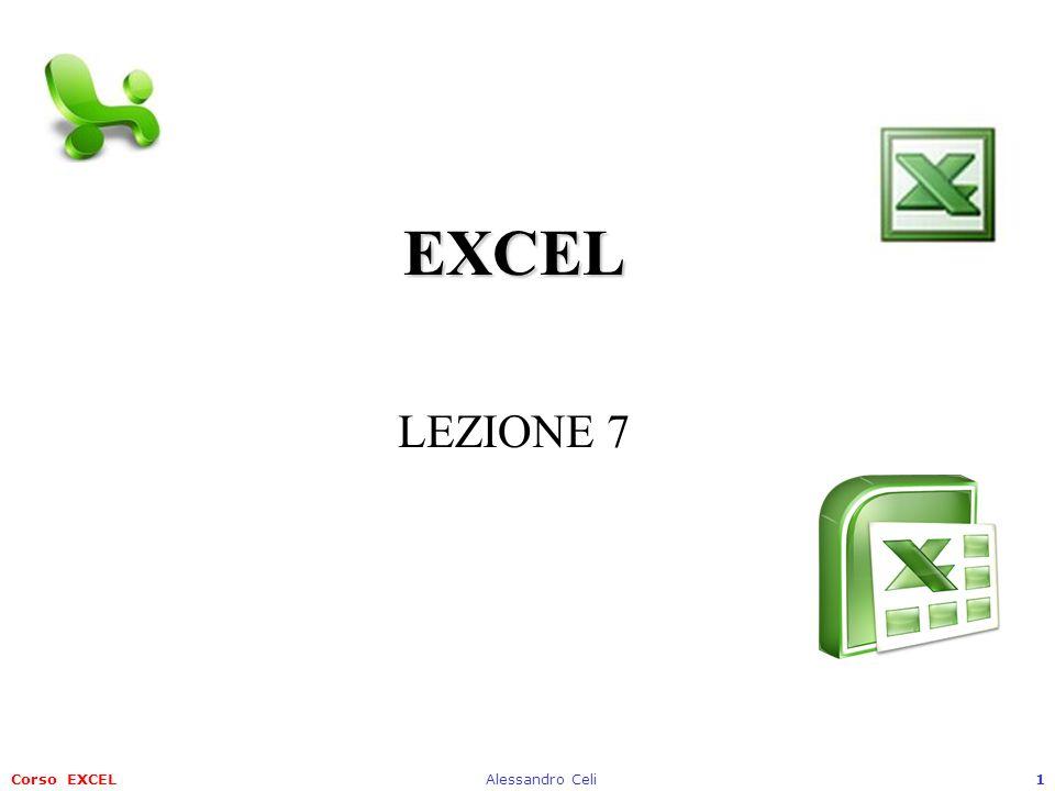 Corso EXCELAlessandro Celi1 EXCEL EXCEL LEZIONE 7