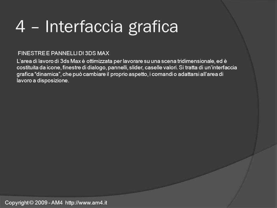 4 – Interfaccia grafica FINESTRE E PANNELLI DI 3DS MAX Larea di lavoro di 3ds Max è ottimizzata per lavorare su una scena tridimensionale, ed è costit