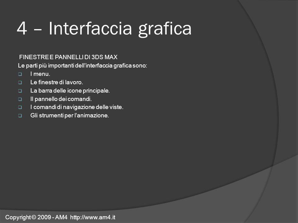 4 – Interfaccia grafica FINESTRE E PANNELLI DI 3DS MAX Le parti più importanti dellinterfaccia grafica sono: I menu. Le finestre di lavoro. La barra d
