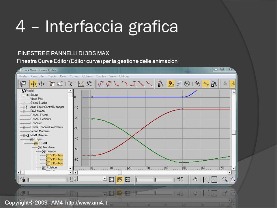 4 – Interfaccia grafica FINESTRE E PANNELLI DI 3DS MAX Finestra Curve Editor (Editor curve) per la gestione delle animazioni Copyright © 2009 - AM4 ht