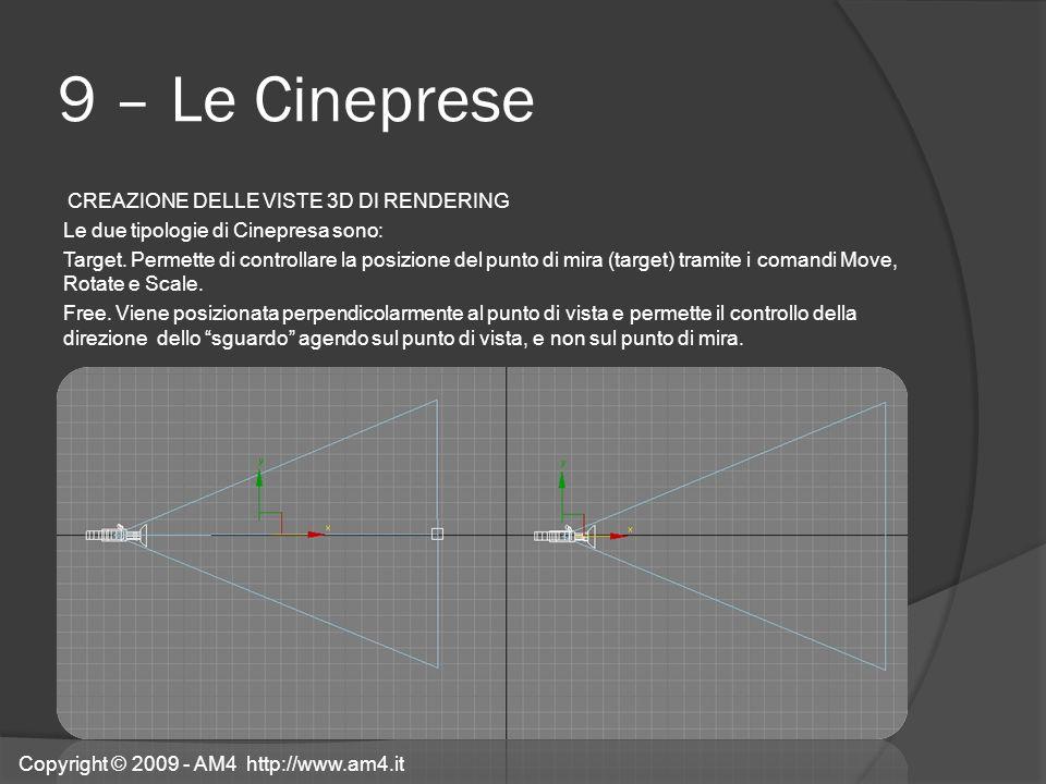 9 – Le Cineprese CREAZIONE DELLE VISTE 3D DI RENDERING Le due tipologie di Cinepresa sono: Target. Permette di controllare la posizione del punto di m