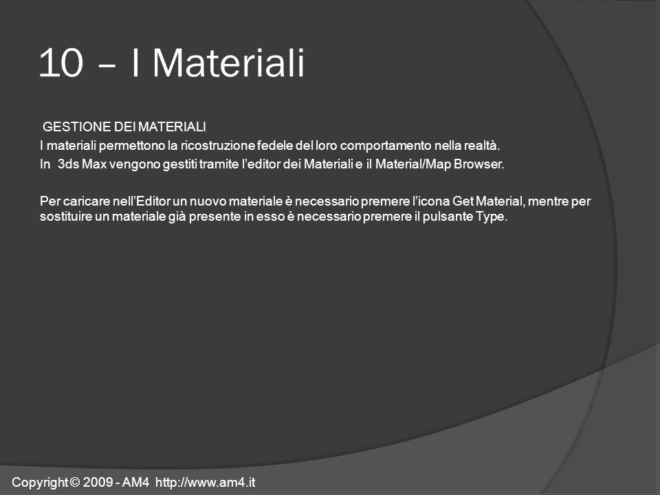 10 – I Materiali GESTIONE DEI MATERIALI I materiali permettono la ricostruzione fedele del loro comportamento nella realtà. In 3ds Max vengono gestiti