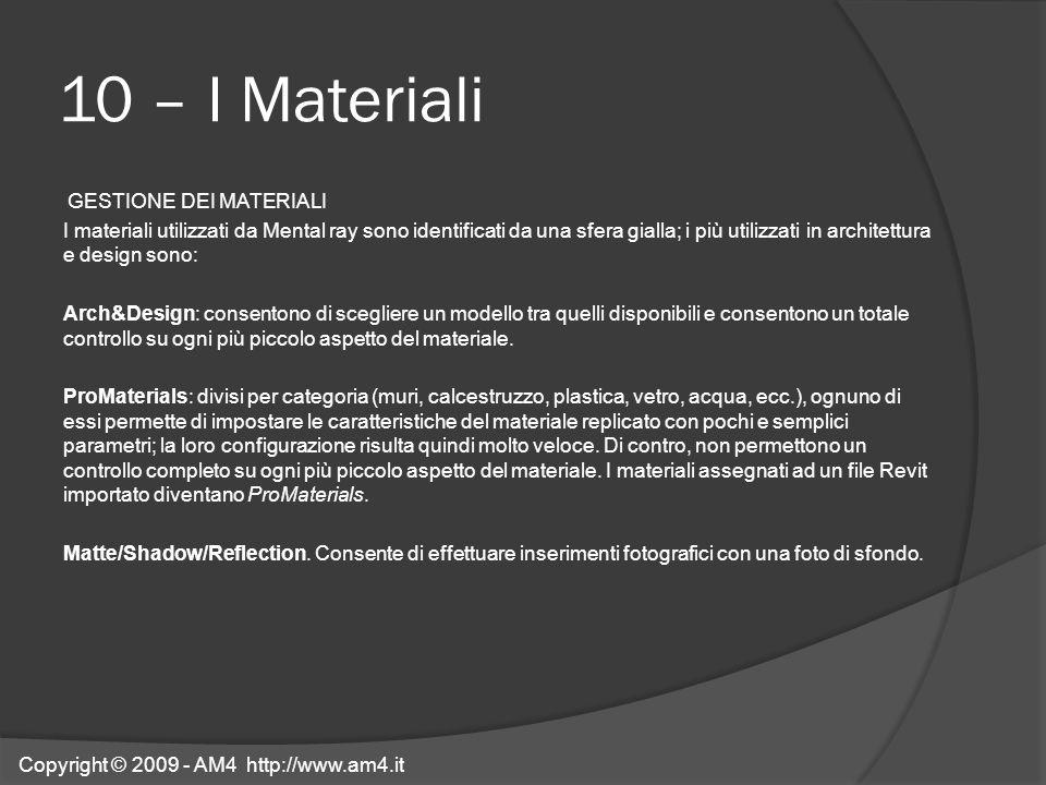10 – I Materiali GESTIONE DEI MATERIALI I materiali utilizzati da Mental ray sono identificati da una sfera gialla; i più utilizzati in architettura e