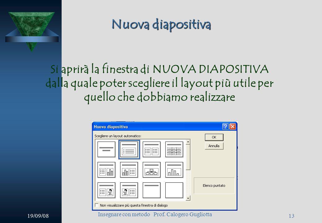 19/09/08 Insegnare con metodo Prof. Calogero Gugliotta 12 Nuova diapositiva Si può inserire una nuova diapositiva dal menu inserisci diapositiva oppur