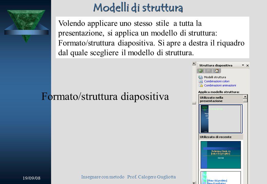 19/09/08 Insegnare con metodo Prof. Calogero Gugliotta 13 Nuova diapositiva Si aprirà la finestra di NUOVA DIAPOSITIVA dalla quale poter scegliere il