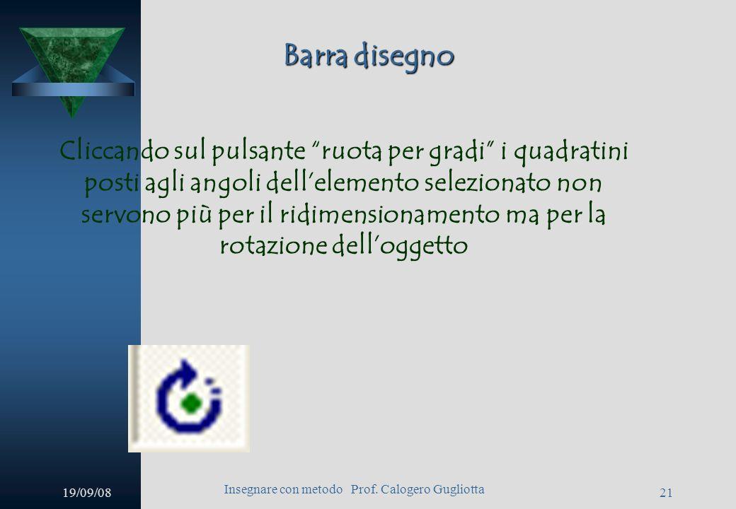 19/09/08 Insegnare con metodo Prof. Calogero Gugliotta 20 Barra disegno Anzitutto vi è il menu disegno che permette di allineare, ruote, trasformare,
