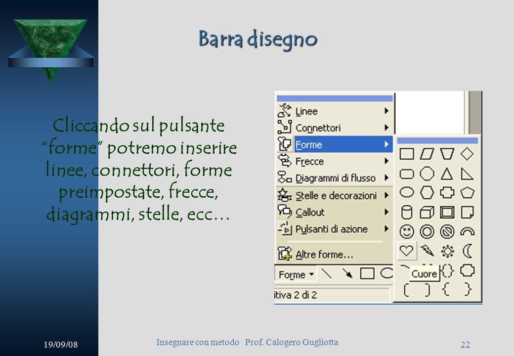 19/09/08 Insegnare con metodo Prof. Calogero Gugliotta 21 Barra disegno Cliccando sul pulsante ruota per gradi i quadratini posti agli angoli dellelem