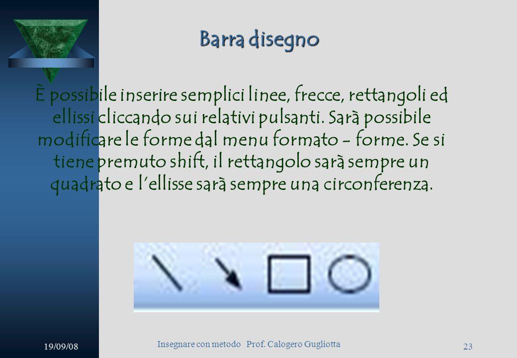 19/09/08 Insegnare con metodo Prof. Calogero Gugliotta 22 Barra disegno Cliccando sul pulsante forme potremo inserire linee, connettori, forme preimpo