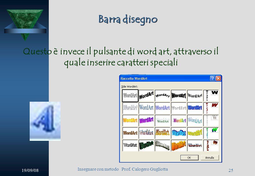 19/09/08 Insegnare con metodo Prof. Calogero Gugliotta 24 Casella di testo Sulla barra disegno vi è anche licona della casella di testo. Dopo averci c
