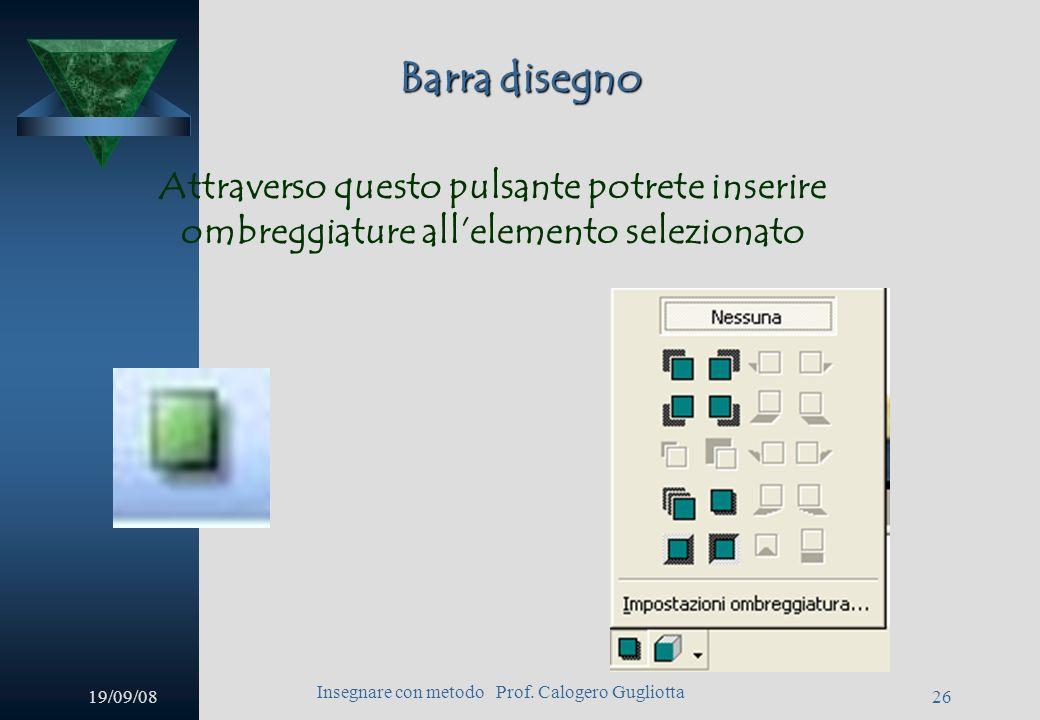 19/09/08 Insegnare con metodo Prof. Calogero Gugliotta 25 Barra disegno Questo è invece il pulsante di word art, attraverso il quale inserire caratter