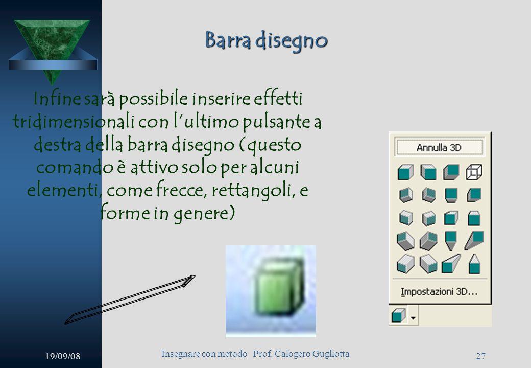 19/09/08 Insegnare con metodo Prof. Calogero Gugliotta 26 Barra disegno Attraverso questo pulsante potrete inserire ombreggiature allelemento selezion