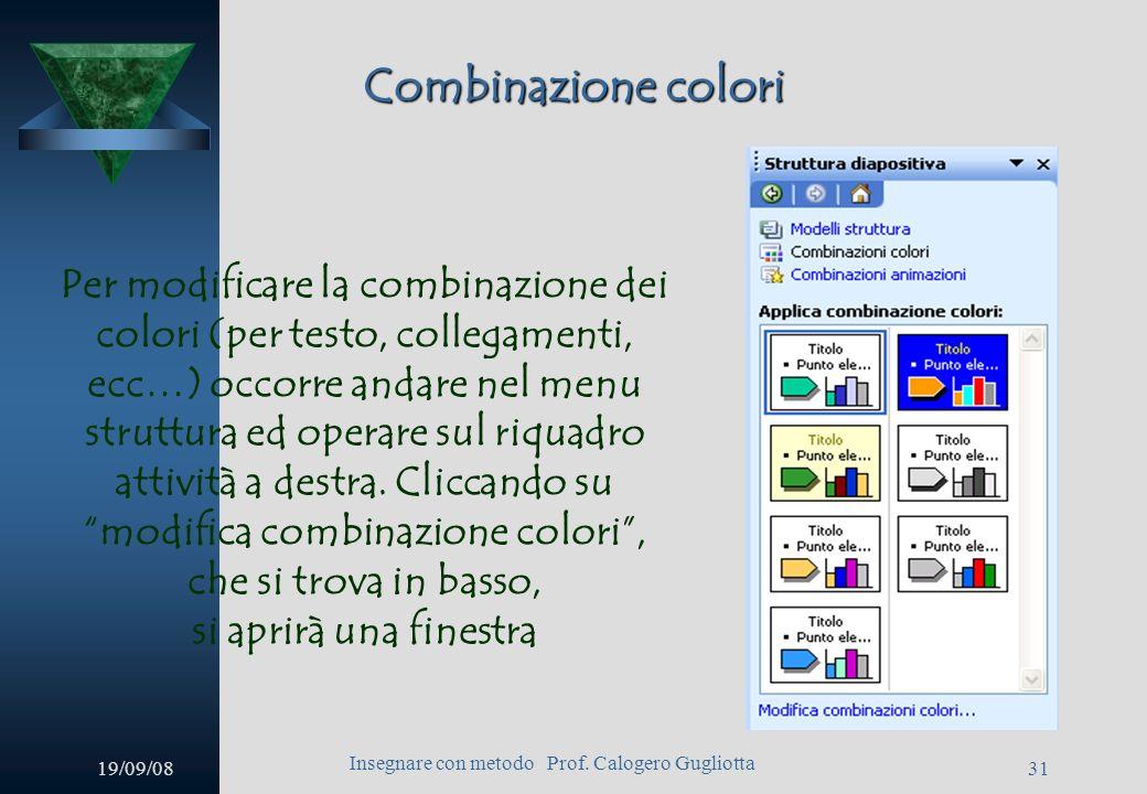 19/09/08 Insegnare con metodo Prof. Calogero Gugliotta 30 Avanzamento automatico Poi, operando sulle finestre che attivano i menu a cascata scegliere: