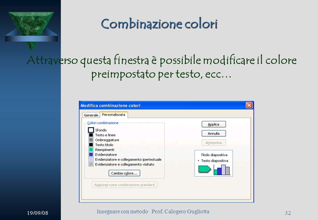 19/09/08 Insegnare con metodo Prof. Calogero Gugliotta 31 Combinazione colori Per modificare la combinazione dei colori (per testo, collegamenti, ecc…