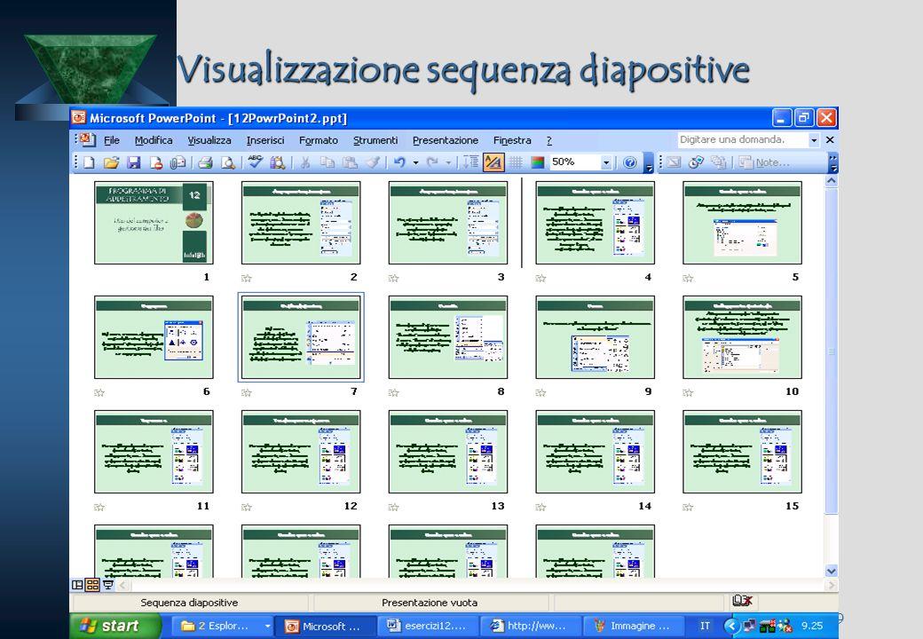 19/09/08 Insegnare con metodo Prof. Calogero Gugliotta 38 Visualizzazione sequenza diapositive Dal menu visualizza (o dalla barra di visualizzazione)