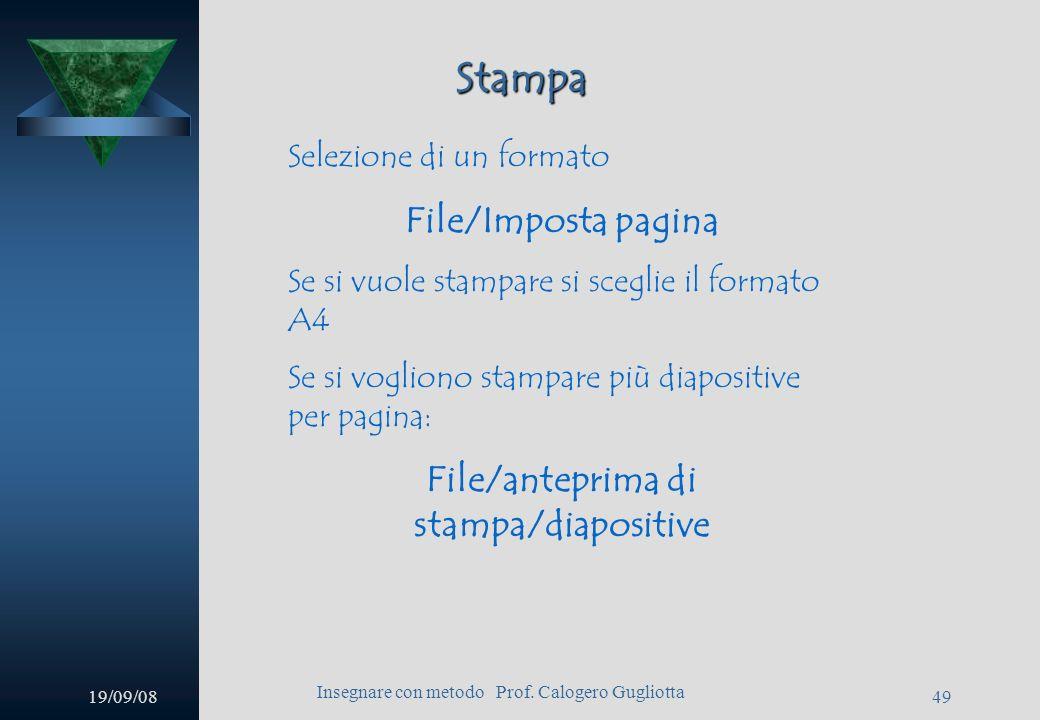19/09/08 Insegnare con metodo Prof. Calogero Gugliotta 48 Suono Si aprirà una finestra, attraverso la quale permettere al nostro file di essere esegui