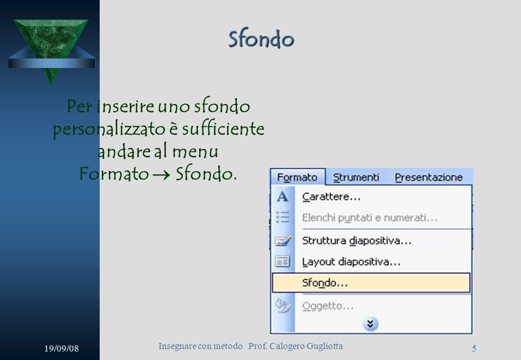 19/09/08 Insegnare con metodo Prof. Calogero Gugliotta 4 Finestra iniziale Power Point 2003