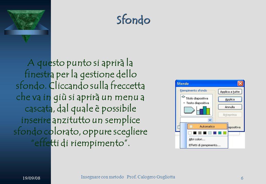 19/09/08 Insegnare con metodo Prof. Calogero Gugliotta 5 Sfondo Per inserire uno sfondo personalizzato è sufficiente andare al menu Formato Sfondo.