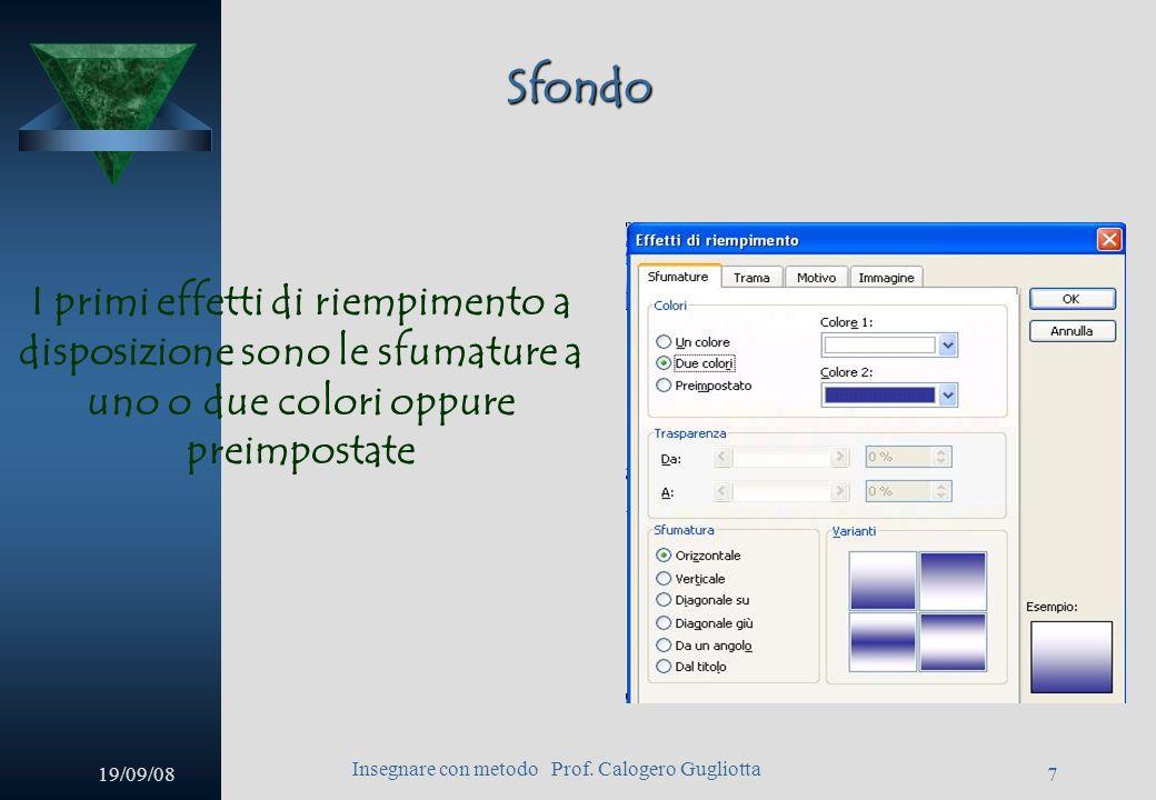 19/09/08 Insegnare con metodo Prof. Calogero Gugliotta 6 Sfondo A questo punto si aprirà la finestra per la gestione dello sfondo. Cliccando sulla fre