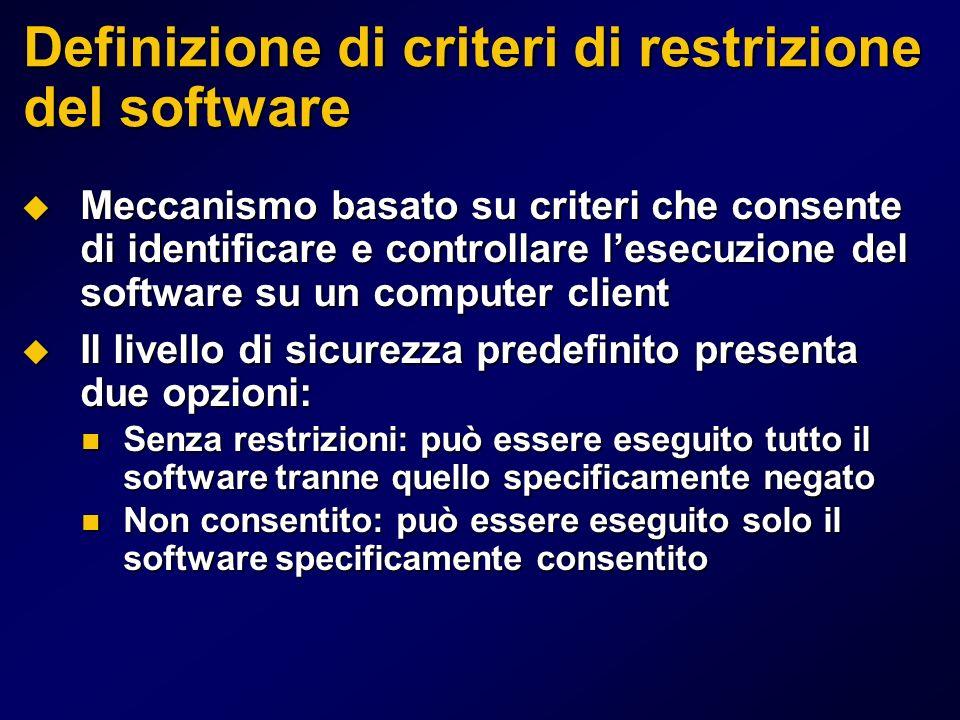 Definizione di criteri di restrizione del software Meccanismo basato su criteri che consente di identificare e controllare lesecuzione del software su