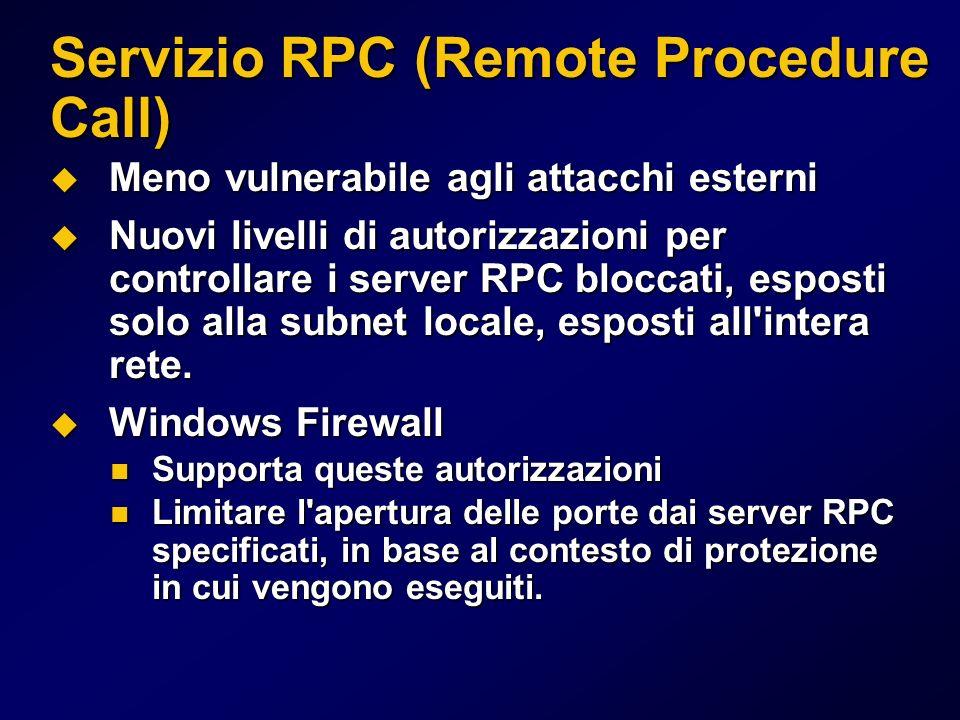 Servizio RPC (Remote Procedure Call) Meno vulnerabile agli attacchi esterni Meno vulnerabile agli attacchi esterni Nuovi livelli di autorizzazioni per controllare i server RPC bloccati, esposti solo alla subnet locale, esposti all intera rete.