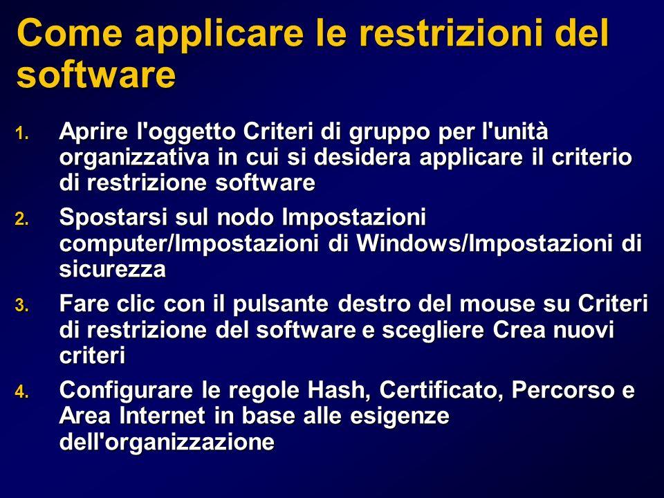 Come applicare le restrizioni del software 1.