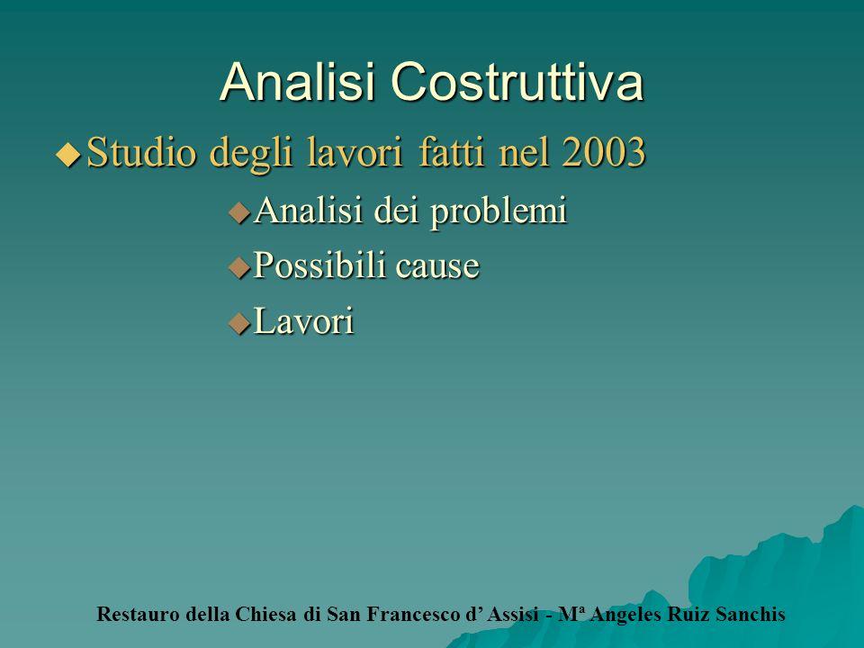 Analisi Costruttiva Studio degli lavori fatti nel 2003 Studio degli lavori fatti nel 2003 Analisi dei problemi Analisi dei problemi Possibili cause Po