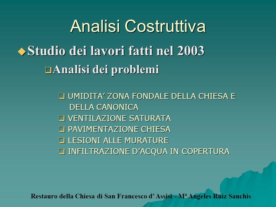 Analisi Costruttiva Studio dei lavori fatti nel 2003 Studio dei lavori fatti nel 2003 Analisi dei problemi Analisi dei problemi UMIDITA ZONA FONDALE D