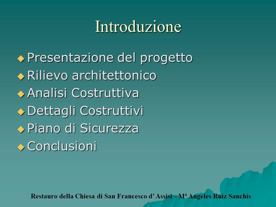 Introduzione Presentazione del progetto Presentazione del progetto Rilievo architettonico Rilievo architettonico Analisi Costruttiva Analisi Costrutti