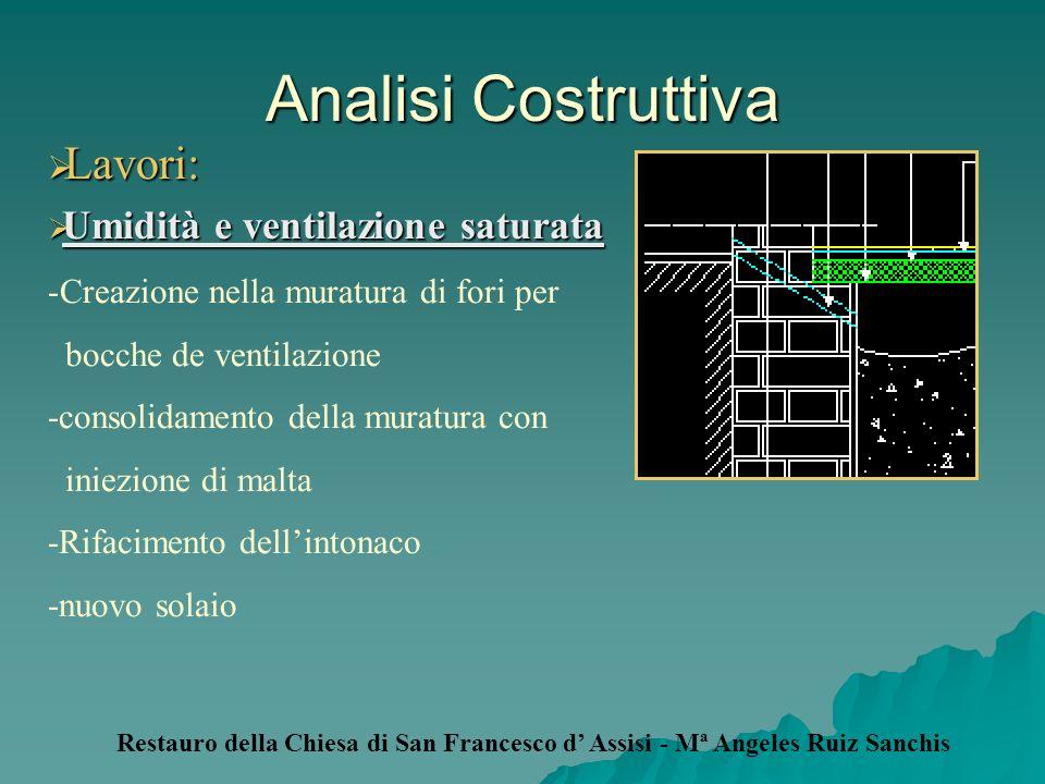 Analisi Costruttiva Lavori: Lavori: Umidità e ventilazione saturata Umidità e ventilazione saturata -Creazione nella muratura di fori per bocche de ve