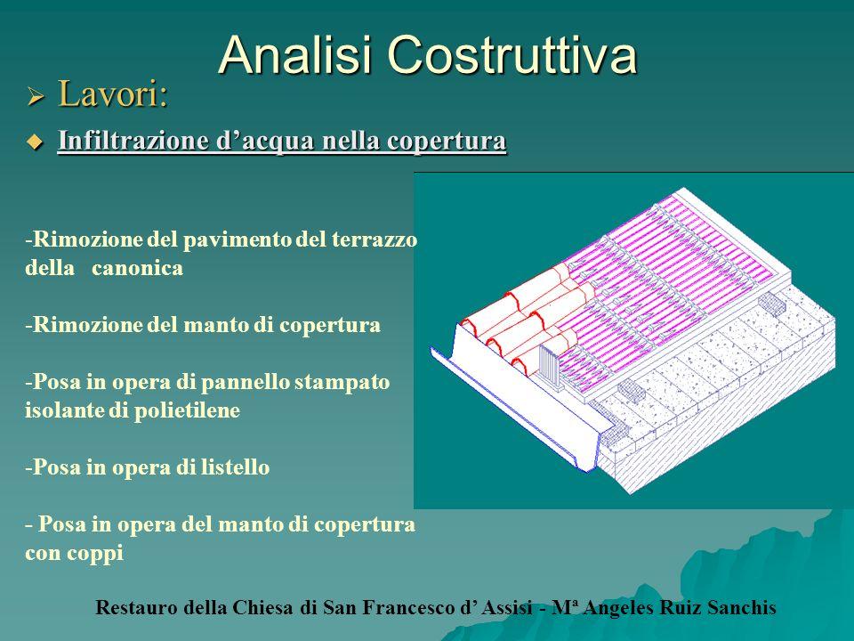 Analisi Costruttiva Lavori: Lavori: Infiltrazione dacqua nella copertura Infiltrazione dacqua nella copertura -Rimozione del pavimento del terrazzo de