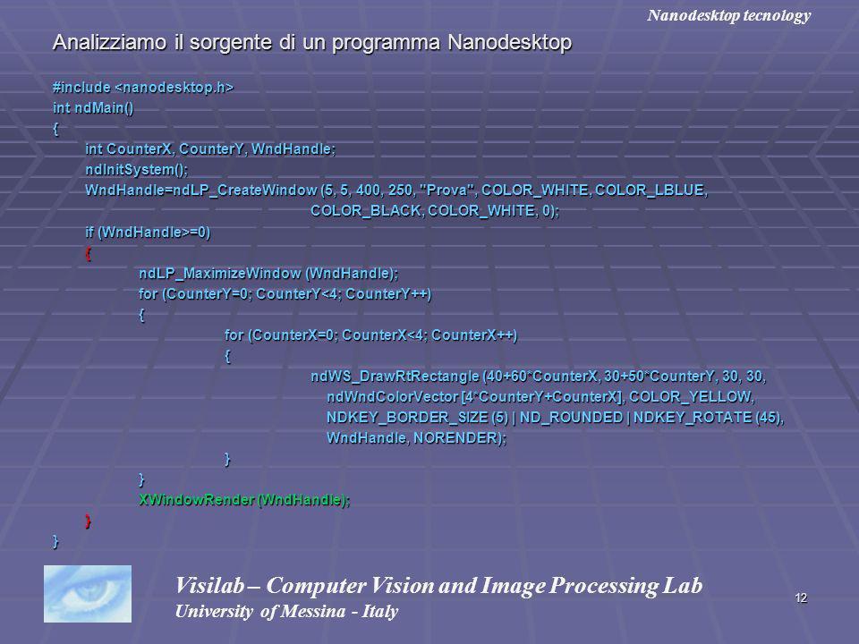 12 Analizziamo il sorgente di un programma Nanodesktop #include #include int ndMain() { int CounterX, CounterY, WndHandle; ndInitSystem(); WndHandle=n