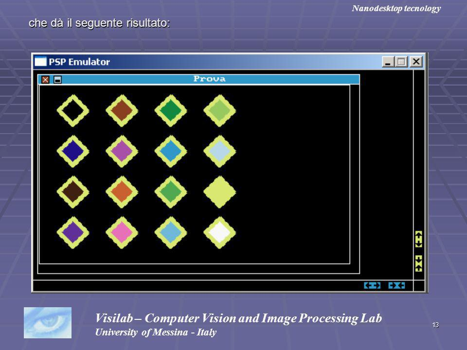 13 che dà il seguente risultato: Visilab – Computer Vision and Image Processing Lab University of Messina - Italy Nanodesktop tecnology