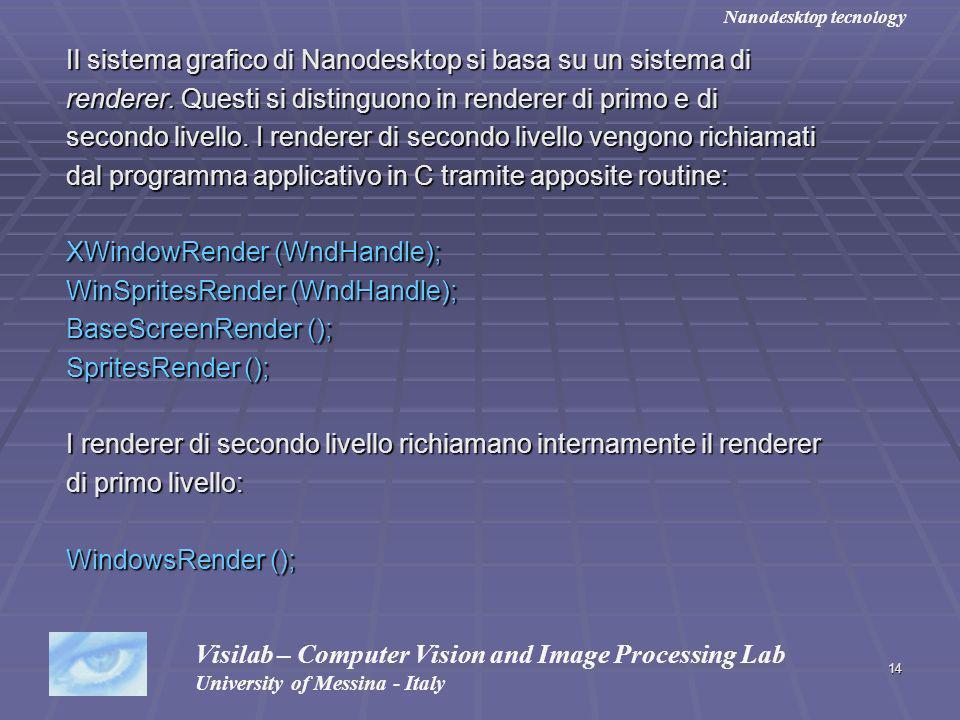 14 Il sistema grafico di Nanodesktop si basa su un sistema di renderer. Questi si distinguono in renderer di primo e di secondo livello. I renderer di
