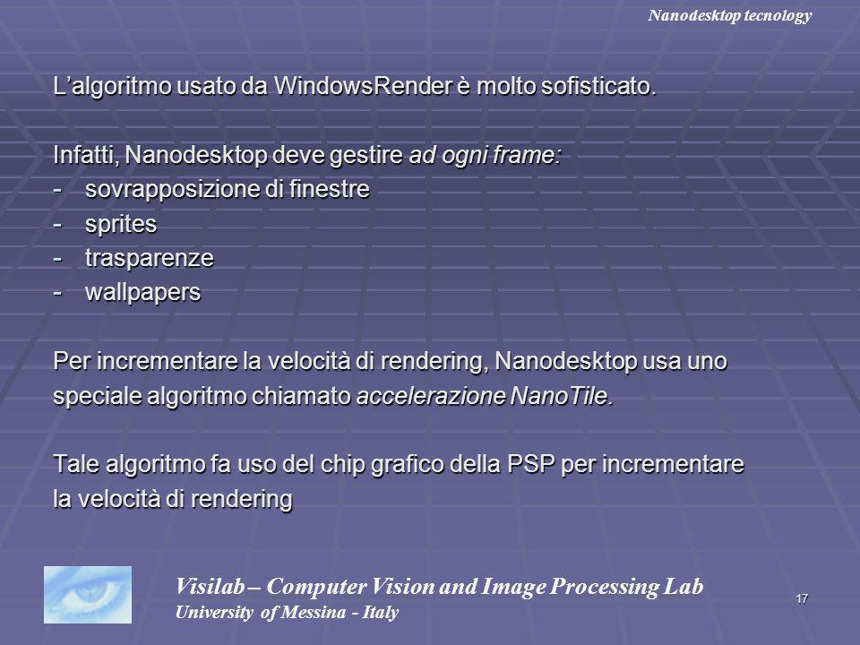 17 Lalgoritmo usato da WindowsRender è molto sofisticato. Infatti, Nanodesktop deve gestire ad ogni frame: - sovrapposizione di finestre - sprites - t