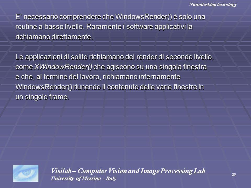 20 E necessario comprendere che WindowsRender() è solo una routine a basso livello. Raramente i software applicativi la richiamano direttamente. Le ap