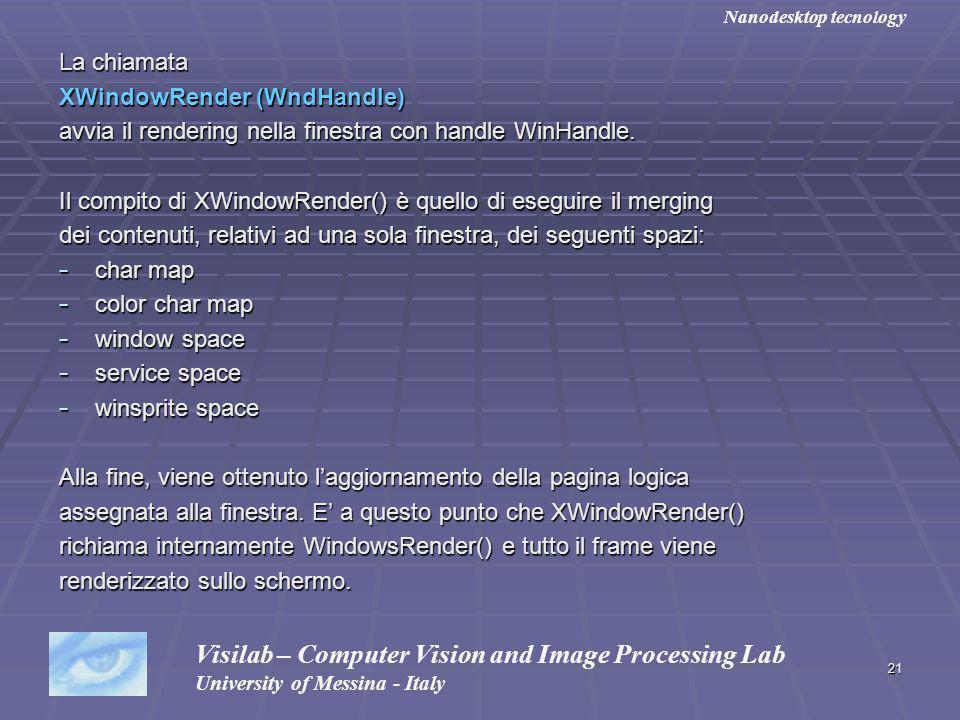21 La chiamata XWindowRender (WndHandle) avvia il rendering nella finestra con handle WinHandle. Il compito di XWindowRender() è quello di eseguire il