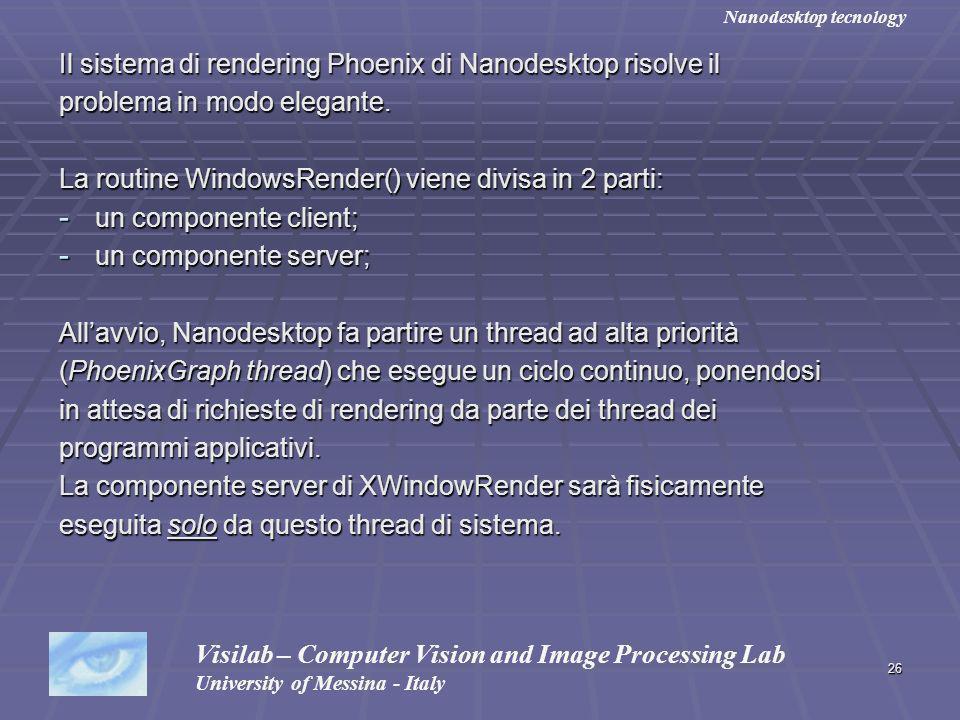 26 Il sistema di rendering Phoenix di Nanodesktop risolve il problema in modo elegante. La routine WindowsRender() viene divisa in 2 parti: - un compo
