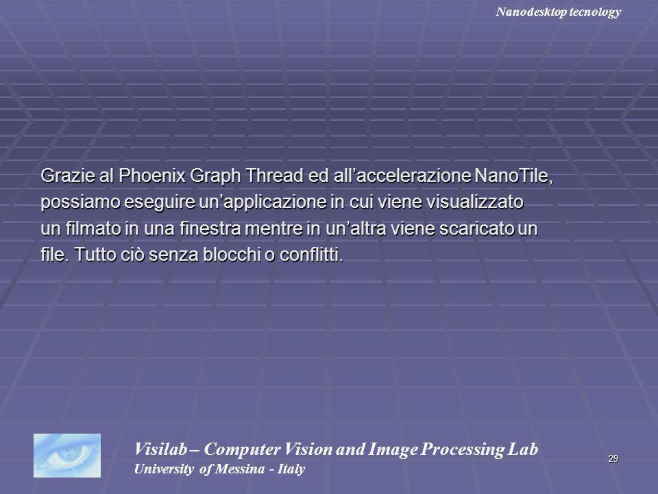 29 Grazie al Phoenix Graph Thread ed allaccelerazione NanoTile, possiamo eseguire unapplicazione in cui viene visualizzato un filmato in una finestra mentre in unaltra viene scaricato un file.