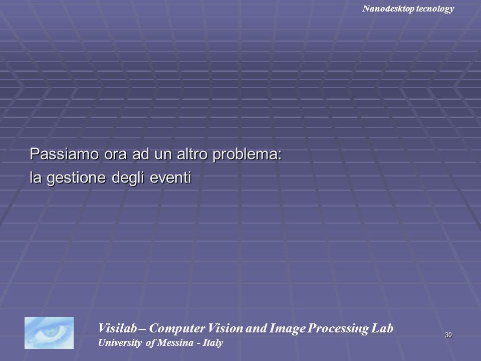 30 Passiamo ora ad un altro problema: la gestione degli eventi Visilab – Computer Vision and Image Processing Lab University of Messina - Italy Nanode