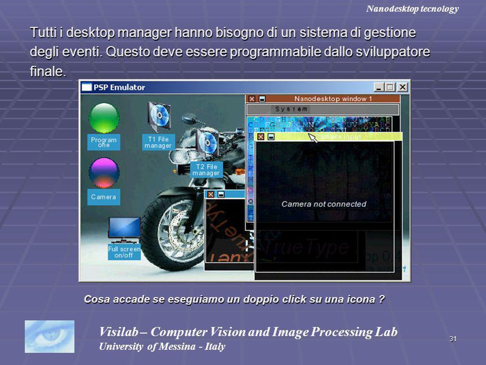 31 Tutti i desktop manager hanno bisogno di un sistema di gestione degli eventi. Questo deve essere programmabile dallo sviluppatore finale. Visilab –