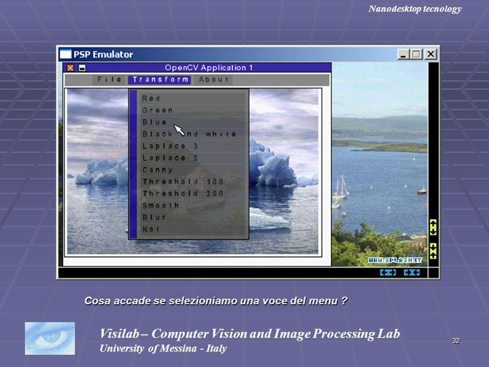 32 Visilab – Computer Vision and Image Processing Lab University of Messina - Italy Nanodesktop tecnology Cosa accade se selezioniamo una voce del menu ?